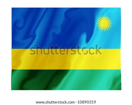 Fluttering image of the Rwandan national flag - stock photo
