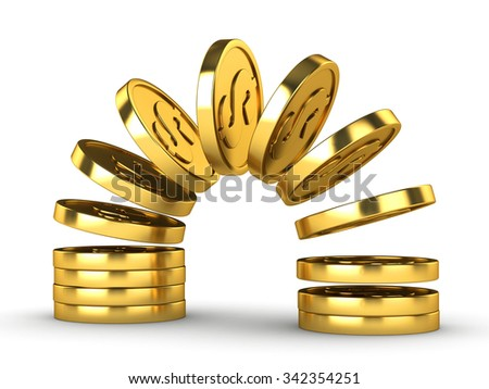 Fly coins on a white background - stock photo