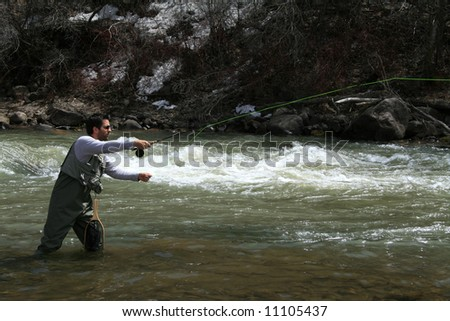 Fly Fisherman - stock photo