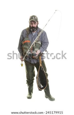 Fly fisherman isolated on white background.  - stock photo