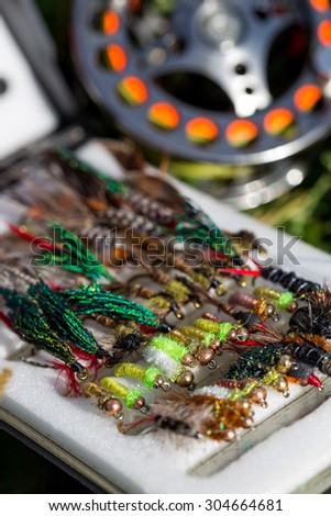 fly fishing bugs and road with real on grass in sunlight with selective focus - stock photo
