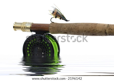 Fly fishing hook on a rod isolated over a white background - stock photo