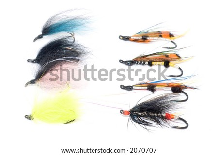 Fly fishing hooks isolated over a white background