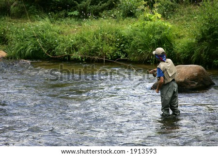 Fly Fishing in Colorado - stock photo
