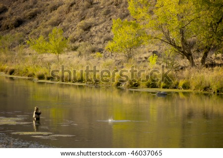 Fly fishing in Oregon - stock photo