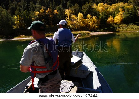 Fly fishing in the Green River, Utah - stock photo