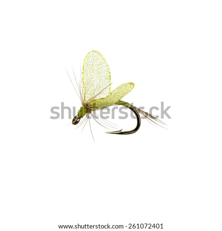 Fly fishing lure isolated on white background - stock photo