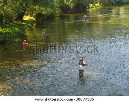 Fly fishing on Ribnik river, near Banja Luka, Republika Srpska, Bosnia - stock photo