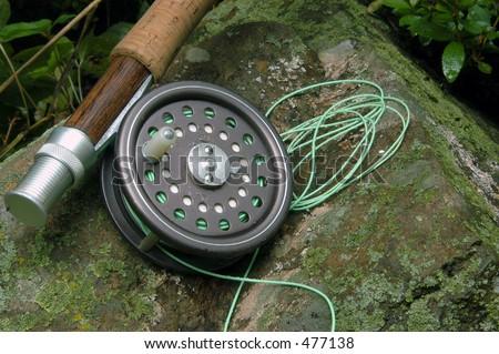 Fly fishing rod & reel - stock photo