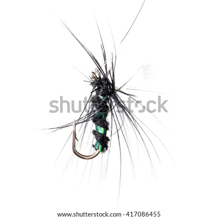 fly for fishing on a white background - stock photo