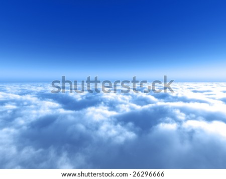 Fly high above the white cloud - stock photo