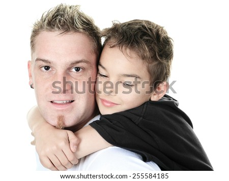 Fly High Father and Son in studio - stock photo
