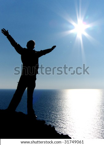 Fly to sun. Element of design, - stock photo
