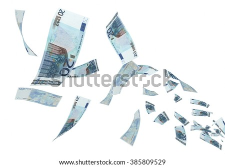 Fly Twenty Euro banknotes close-up (isolated on white and clipping path) - stock photo