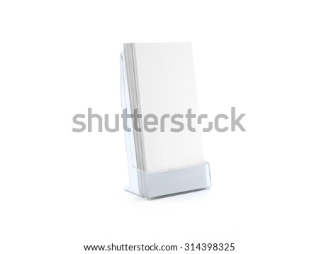 Flyer blue glass plastic holder stand. Brochure holding. Flier mock up for the design presentation isolated on white. Show leaflet template. - stock photo