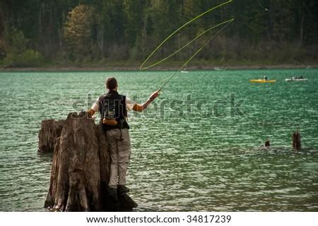 Flyfishing - stock photo