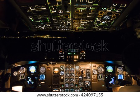 Flying across the Canary Islands in a smooth night. - stock photo