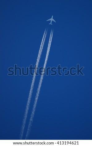 Flying aircraft - stock photo