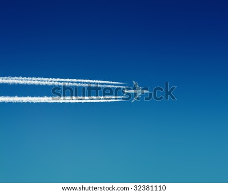 Flying airplane - stock photo
