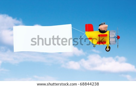 Flying airplane and banner, sky on background - stock photo