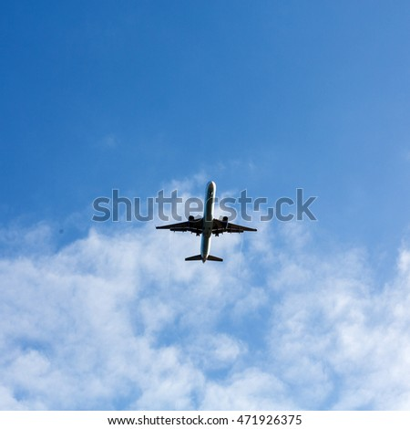 flying airplane in beautiful weather