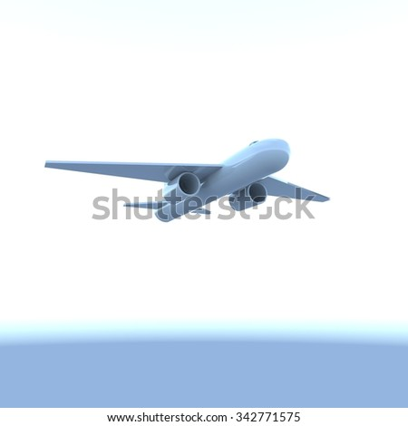 Flying Airplane in the sky, 3d render, square image - stock photo