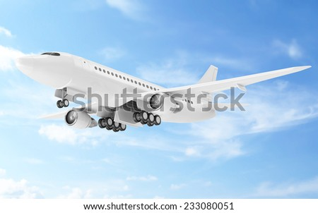 Flying Airplane in the Sky. Passenger Airplane of My Own Design - stock photo