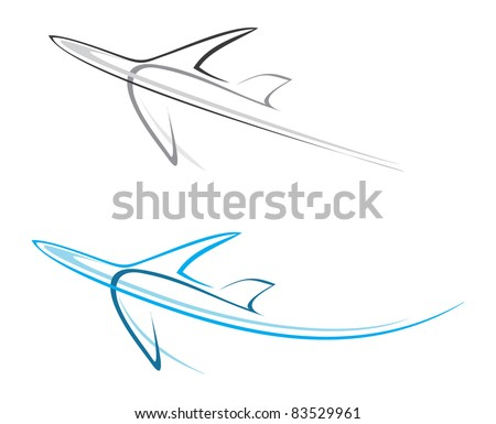 Flying airplane - stylized vector illustration. Grey icon on white background. Isolated design element. Airliner. - stock photo