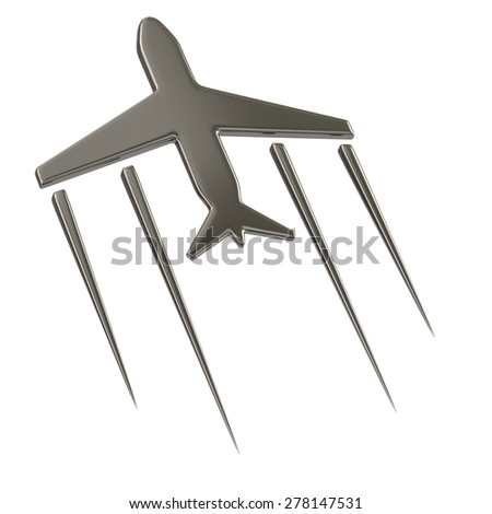 Flying airplane symbol  - stock photo