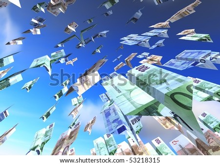 Flying Airplanes euro over a blue sky - stock photo