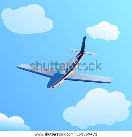 Flying an airplane in the sky. - stock photo