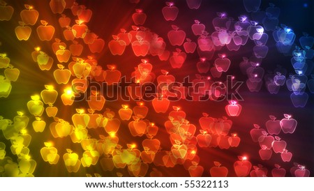 Flying apple shapes with a colorful bokeh effect - stock photo