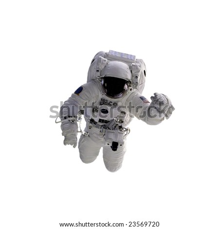 Flying astronaut on a white background. Some components of this image are provided courtesy of NASA, and have been found at nasaimages.org - stock photo