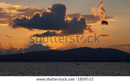 Flying at the decline - stock photo