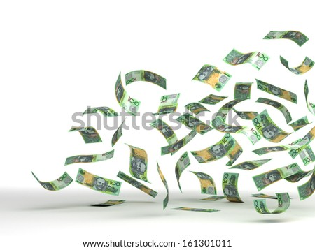 Flying Australian Dollar (isolated with clipping path)