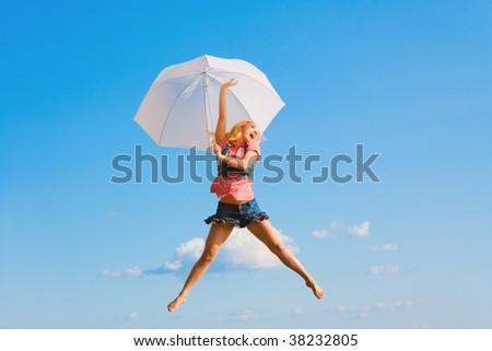 Flying away -like Mary Poppins - stock photo