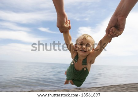 flying baby on sky background - stock photo
