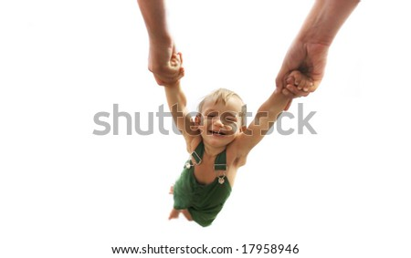 flying baby over white - stock photo
