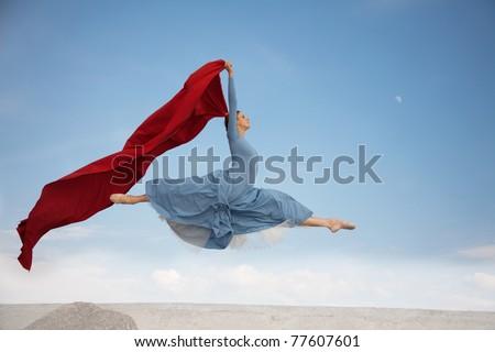 flying ballerina - stock photo