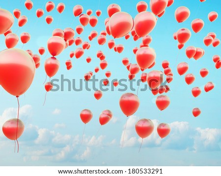 Flying Balloons - stock photo