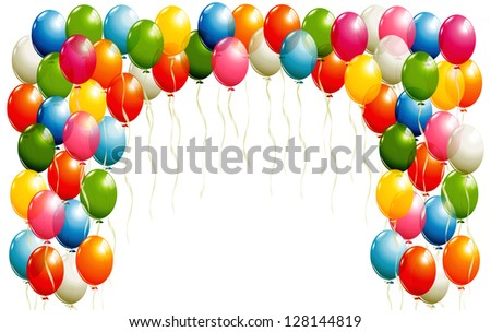 Flying balloons background - stock photo