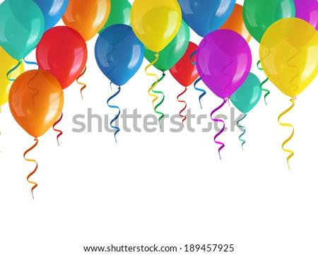 flying balloons isolated on white background - stock photo