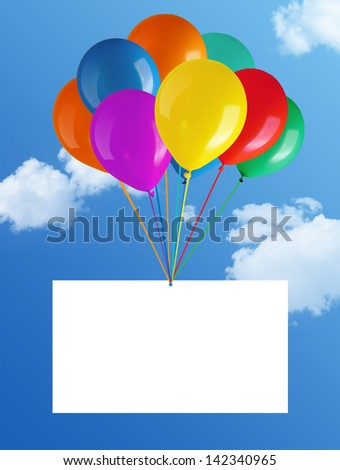 flying balloons with card in blue sky - stock photo