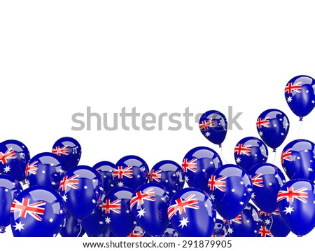 Flying balloons with flag of australia isolated on white - stock photo