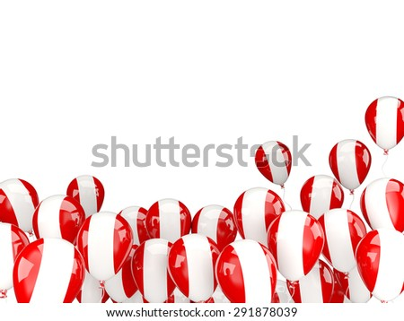 Flying balloons with flag of peru isolated on white - stock photo