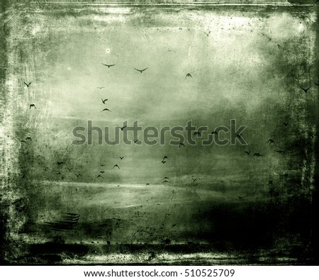 Flying birds, beautiful abstract wallpaper, green texture background