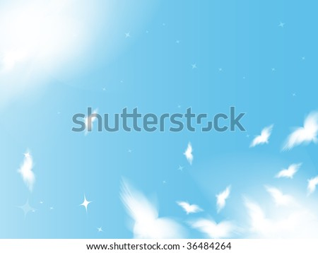 Flying birds in the sky, background in peace theme - stock photo