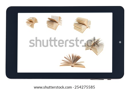 flying books on screen of black tablet-pc isolated on white background - stock photo
