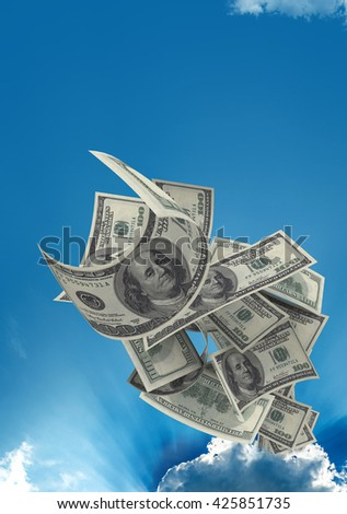 Flying $100 both from front and back like real one from sky. High resolution, sharp 3D rendering along with silver lining - stock photo