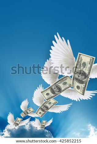 Flying $100 both from front like real one. High resolution, sharp 3D rendering along with silver lining - stock photo
